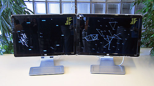 The publicly displayed visualization setup during the workshop in Oct 2008