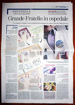 Page with article on Hospital experiment in newspaper La Stampa, 17 nov 2009