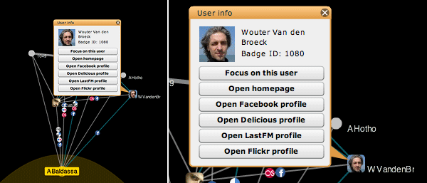 Screenshot of Live Social Semantics user focus visualization, with detail showing the interface that pops up when clicking a participant's representation.