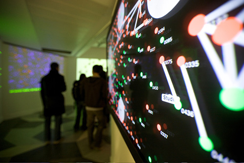 Close-up of real-time visualization in exhibition.